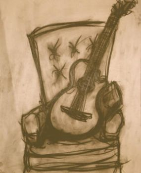Guitar in Chair by Thelonious23