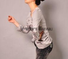 Grey Cotton Pleated Blouse 8 by yystudio