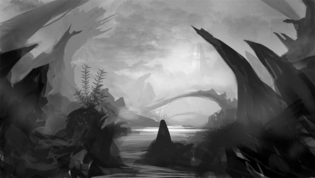 Quick environment sketch6grey by Lyno3ghe
