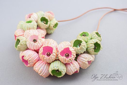 Volume necklace with beads from polymer clay by polyflowers