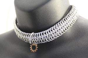 Steampunk Chainmaille Collar-Choker by SerenFey
