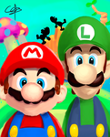 Mario and Luigi - BROTHERS by CC3TheArtist