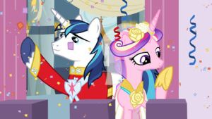 Princess Cadence and Shining Armor on the balcony by SawyerMoonKitty