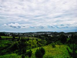 Green Land mixed with Blue Sky and White Clouds by Giganticluminositas