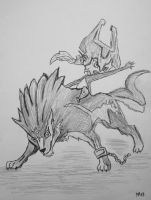 Wolf Link and Midna by JOrte