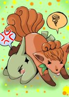 Vulpix and Larvitar by otani012
