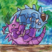 Nidoking and Nidoqueen by nirvanaXx