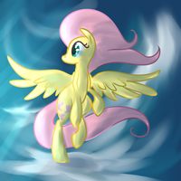 Fluttershy on clouds by PonyGoggles