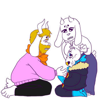 [G] Underflip Asgore and Toriel w Salt by evillovebunny500