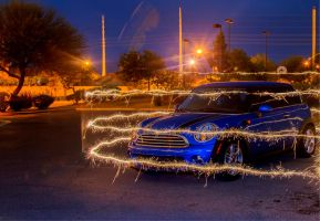 Sparklers and a Mini Cooper by slavicphotos
