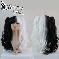 Split Black and White Wavy Wig by GothicLolitaWigs