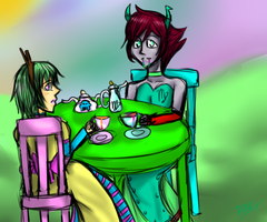 Tea Party with Trickster Rose and Kanaya by strideypie