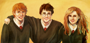 Harry Potter, Ron and Hermione by cactusrain