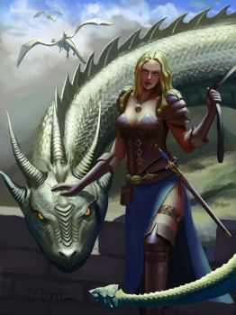 Dragon and girl by CannibalWorm
