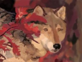 Wolf in autumn leaves painting by Wolfguardian