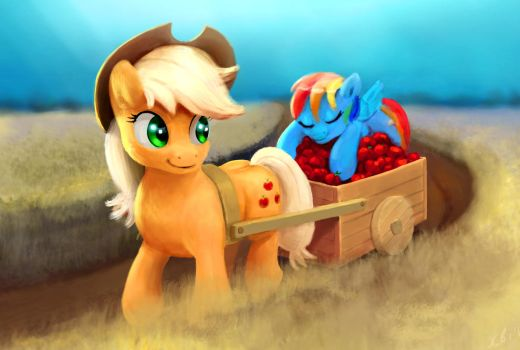 Applejack's cargo is loaded with sweet things by xbi