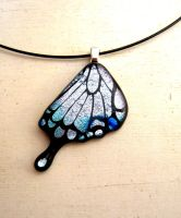 Swallowtail Butterfly Wing Pendant Fused Glass by FusedElegance