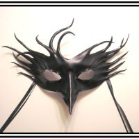 Crazy Crow Black Leather Mask by teonova