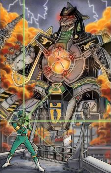 Green Ranger and Dragonzord from Power Rangers by Gazbot