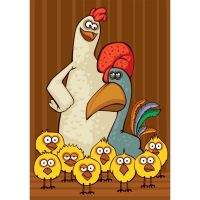 cock and hen with family by cgvector