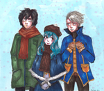 Juvia, Gray and Lyon. Winter by Youkona