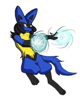 Lucario in Battle by FuzzyAcornIndustries
