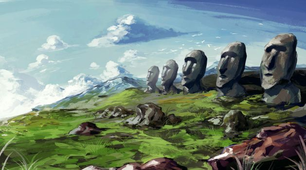 Moai Heads - Civ 5 Wonder by mqken