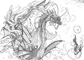 Lineart: oldie - Sea Basilisk by kxeron