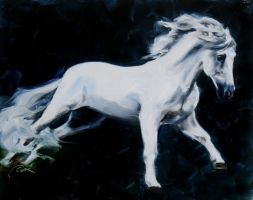 By Moonlight, Andalusian horse oil painting by crystalcookart