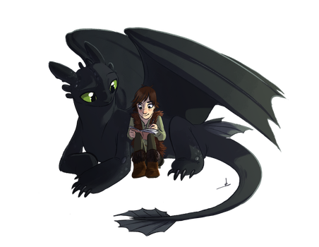 Commission | Hiccup and Toothless by OwlCoat