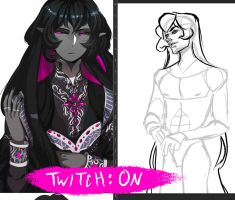 TWITCH: ON! - Half-body sketch by CrystalCurtisArt