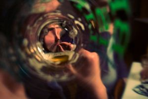 peder through beer glass by FigoTheCat