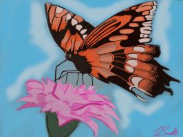 Butterfly and Lily by carlyscanvas
