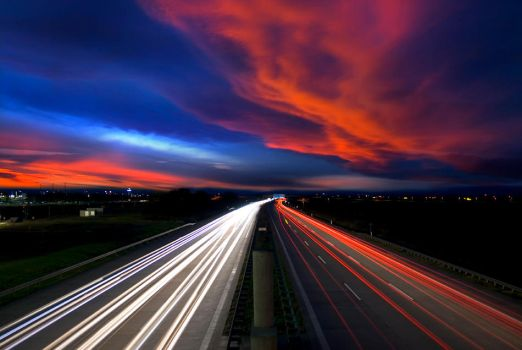 Highway Sunset by stg123