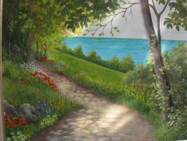 path with flowers by Hydrangeas