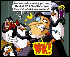 Penguin on Penguin Violence by mightyfilm