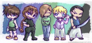Gundam Wing chibis by askerian