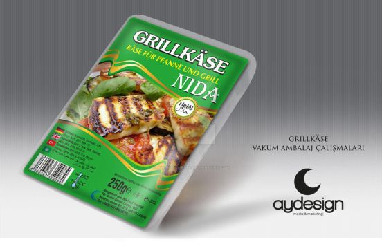 Nida Grill Hellim Cheese packaging Design by aydesignmedia