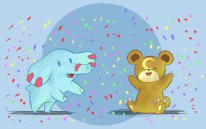 Phanpy and Teddiursa Celebrate by DaILz