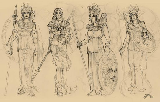 Atenea - 4 sketches by phrenan