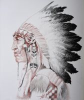 Native American Indian (red+black pencil on paper) by AdrianMoraru
