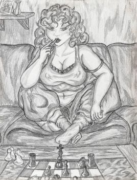 Reilly playing chess by Amoryl