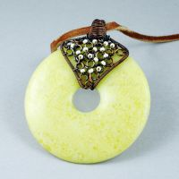 Copper and Peridot Jasper Donut Necklace by sylva