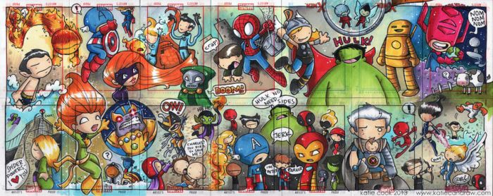 Marvel 14 sketch card puzzle by katiecandraw