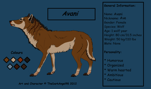 Reference Sheet of Avani by LupusAvani