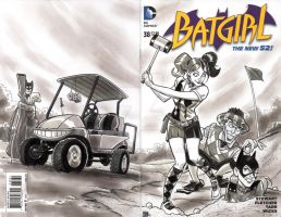 Batgirl vs Joker and Harley Quinn Sketch Cover by timshinn73