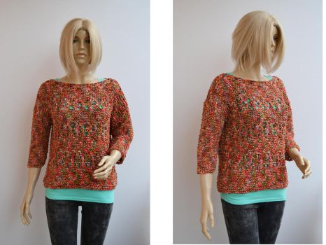 Colorfull sweater blouse by dosiak