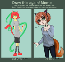 Draw this again meme: Neko by ThirteenthAngel