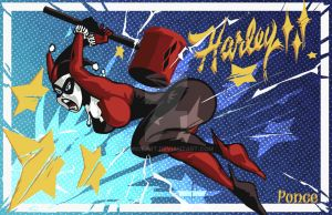 Harley Quinn in action! by PonceArt