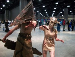 Pyramid Head and Nurse by XxzeldafanxX